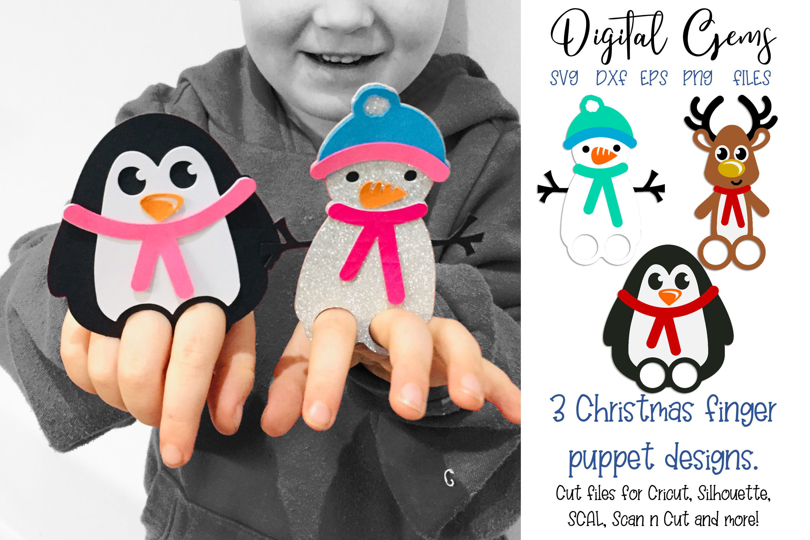 Download Free Christmas Finger Puppet Bookmark Designs Graphic By Digital Gems for Cricut Explore, Silhouette and other cutting machines.
