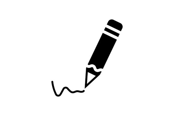 Print on Demand: Write by Pencil Glyph Vector Graphic Icons By Riduwan Molla