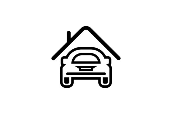 Download Free Car In House Line Art Vector Icon Graphic By Riduwan Molla for Cricut Explore, Silhouette and other cutting machines.