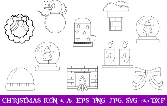 Download Free Christmas Icon Bundle Graphic By Purplespoonpirates Creative for Cricut Explore, Silhouette and other cutting machines.