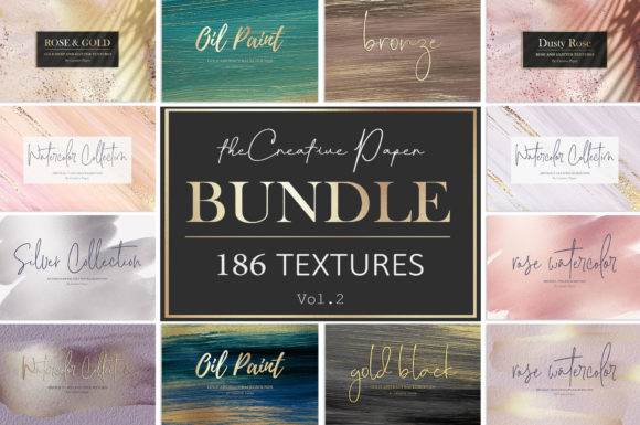 Print on Demand: Gold Watercolor & Oil Paint Collections Graphic Textures By Creative Paper