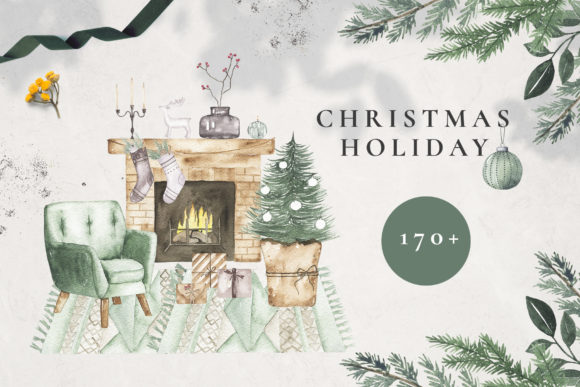 Watercolor Christmas Holiday Set Graphic Illustrations By Madiwaso