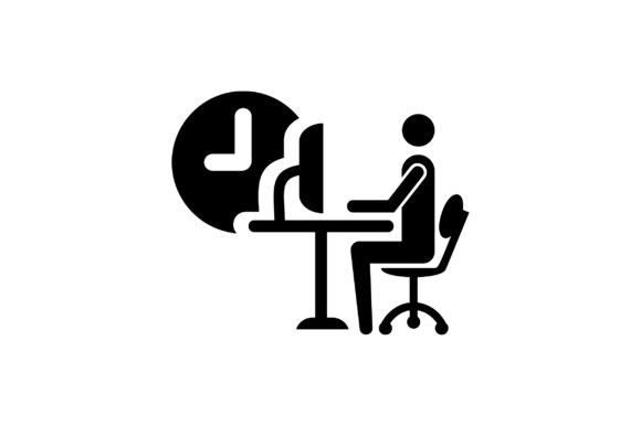 Download Free Man Working On Computer In Office Icon Graphic By Riduwan Molla for Cricut Explore, Silhouette and other cutting machines.