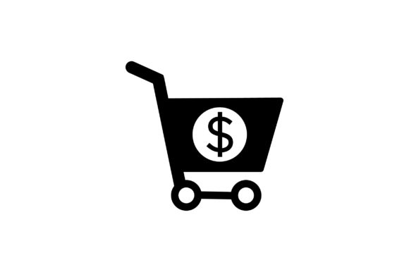 Download Free Shopping Cart With Dollar Glyph Icon Graphic By Riduwan Molla for Cricut Explore, Silhouette and other cutting machines.