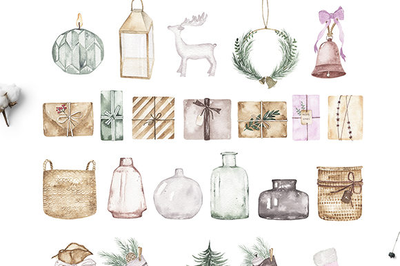 Watercolor Christmas Holiday Set Graphic Illustrations By Madiwaso - Image 11