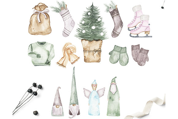 Watercolor Christmas Holiday Set Graphic Illustrations By Madiwaso - Image 12