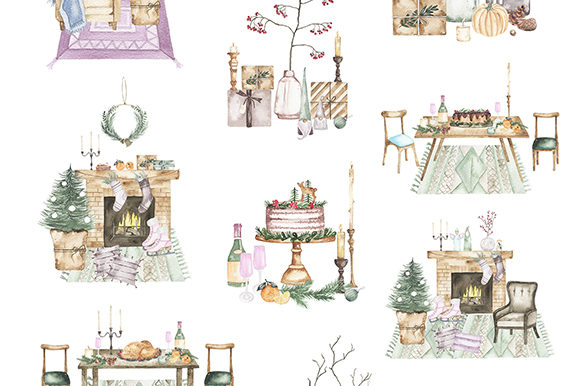 Watercolor Christmas Holiday Set Graphic Illustrations By Madiwaso - Image 5