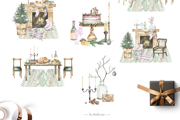 Watercolor Christmas Holiday Set Graphic Illustrations By Madiwaso - Image 6
