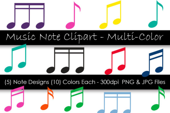 Music Note Clip Art - Multi-Color Graphic Objects By GJSArt