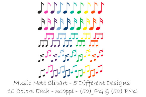 Music Note Clip Art - Multi-Color Graphic Download