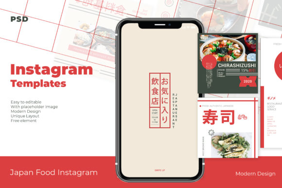 Japan Food Instagram Templates Graphic Web Elements By qohhaarqhaz