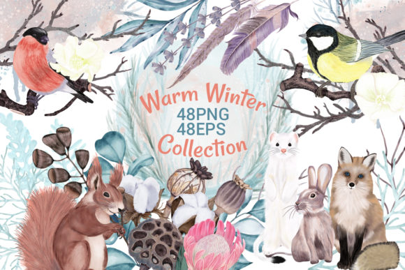 Print on Demand: Winter Flowers, Animals, Birds Forest Graphic Illustrations By PawStudio - Image 1