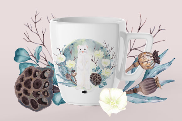 Print on Demand: Winter Flowers, Animals, Birds Forest Graphic Illustrations By PawStudio - Image 9