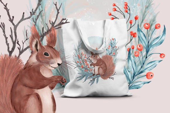 Print on Demand: Winter Flowers, Animals, Birds Forest Graphic Illustrations By PawStudio - Image 7