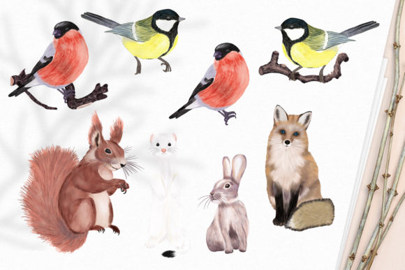 Print on Demand: Winter Flowers, Animals, Birds Forest Graphic Illustrations By PawStudio - Image 2