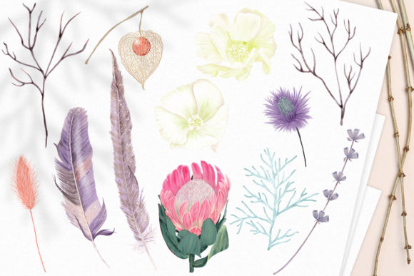 Print on Demand: Winter Flowers, Animals, Birds Forest Graphic Illustrations By PawStudio - Image 4