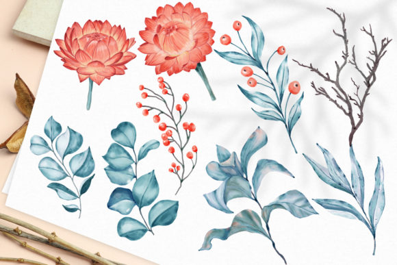 Print on Demand: Winter Flowers, Animals, Birds Forest Graphic Illustrations By PawStudio - Image 5