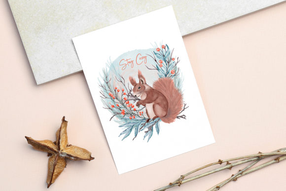 Print on Demand: Winter Flowers, Animals, Birds Forest Graphic Illustrations By PawStudio - Image 11