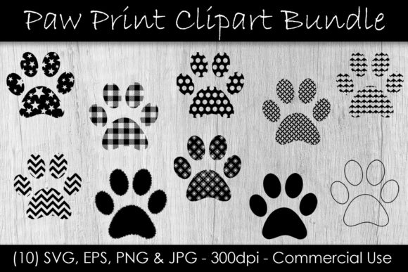 Paw Print Clip Art Bundle Graphic Illustrations By GJSArt