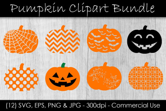 Pumpkin Jack-O-Lantern Clip Art Bundle Graphic Objects By GJSArt