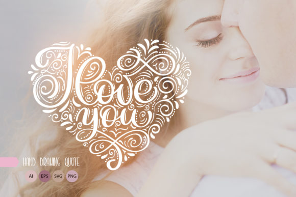 I Love You Vector Valentine Quote Grafik Objekte von Happy Letters