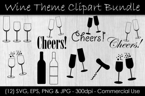 Wine & Champagne Glass Clip Art - Cheers Grafik Illustrationen von GJSArt