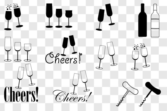 Wine & Champagne Glass Clip Art - Cheers Graphic Download