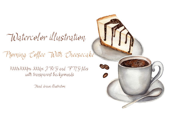 Morning Coffee with Cheesecake Graphic Illustrations By Maya Navits