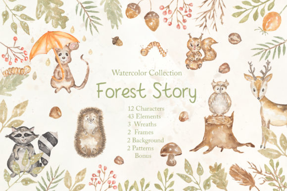 Watercolor Forest Story Graphic Illustrations By Maya Navits - Image 1