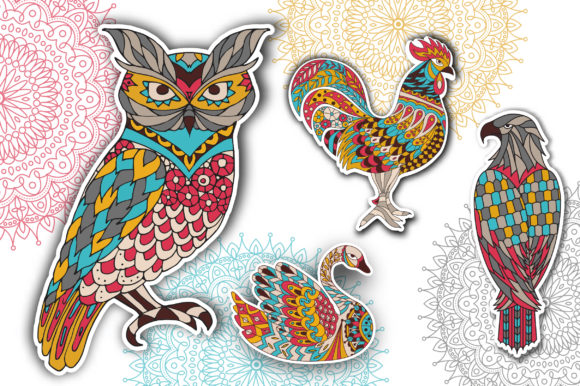 Coloring Pages - Birds Grafik Illustrationen von Peliken