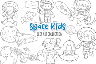 Print on Demand: Cute Space Kids Digital Stamps Graphic Illustrations By Keepinitkawaiidesign 1