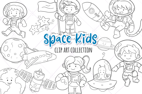 Print on Demand: Cute Space Kids Digital Stamps Graphic Illustrations By Keepinitkawaiidesign