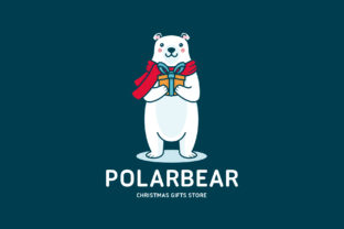 Download Free Cute Polar Bear Christmas Logo Template Graphic By Vectorwithin Creative Fabrica for Cricut Explore, Silhouette and other cutting machines.