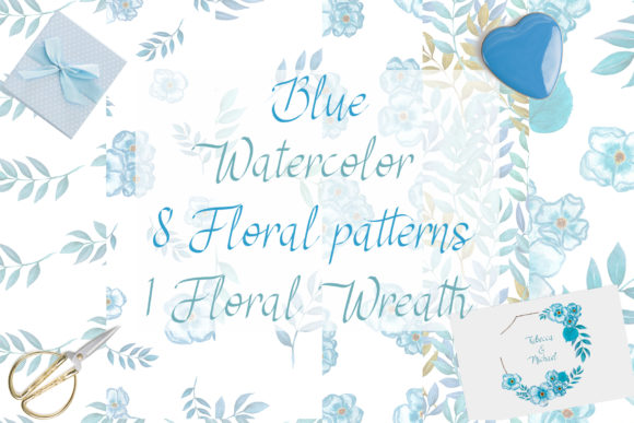 Blue Floral Patterns Collection Graphic Patterns By Maya Navits