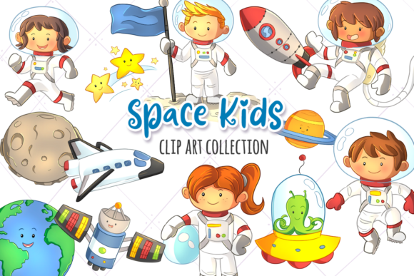 Print on Demand: Cute Space Kids Clip Art Collection Graphic Illustrations By Keepinitkawaiidesign - Image 1