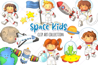 Download Free Cute Space Kids Clip Art Collection Graphic By for Cricut Explore, Silhouette and other cutting machines.