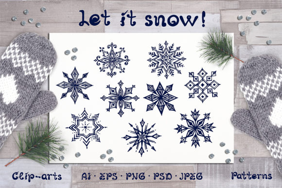 Handdrawn Snowflakes, Cards and Patterns Graphic Illustrations By AV Design