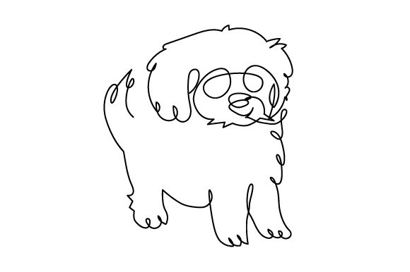 Cavoodle in Line Art Style Dogs Craft Cut File By Creative Fabrica Crafts - Image 1