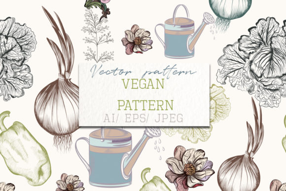 Floral Food Pattern Vector Vintage Style Graphic Patterns By fleurartmariia