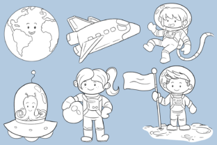 Print on Demand: Cute Space Kids Digital Stamps Graphic Illustrations By Keepinitkawaiidesign 2