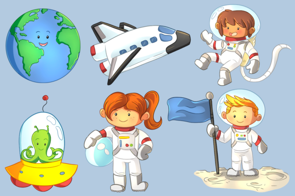 Print on Demand: Cute Space Kids Clip Art Collection Graphic Illustrations By Keepinitkawaiidesign - Image 2