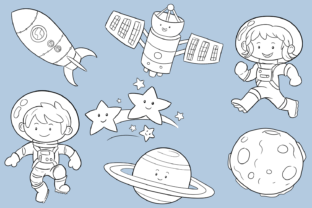 Print on Demand: Cute Space Kids Digital Stamps Graphic Illustrations By Keepinitkawaiidesign 3