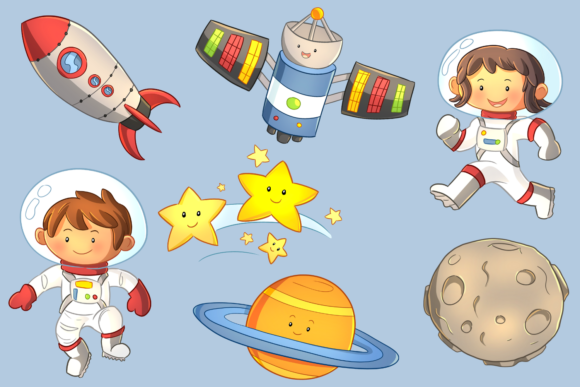 Print on Demand: Cute Space Kids Clip Art Collection Graphic Illustrations By Keepinitkawaiidesign - Image 3