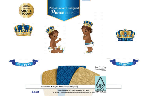 Print on Demand: Blue and Gold Baby Prince/King Royal Gráfico Ilustraciones Por adlydigital