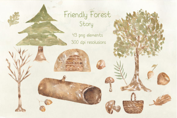 Watercolor Forest Story Graphic Illustrations By Maya Navits - Image 3
