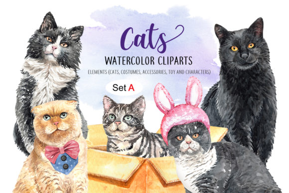 Print on Demand: Cat Lover Watercolor Cliparts Gráfico Ilustraciones Por SapG Art