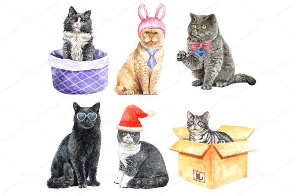 Print on Demand: Cat Lover Watercolor Cliparts Graphic Illustrations By SapG Art - Image 5