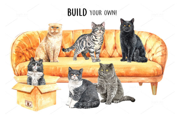 Print on Demand: Cat Lover Watercolor Cliparts Graphic Illustrations By SapG Art - Image 6
