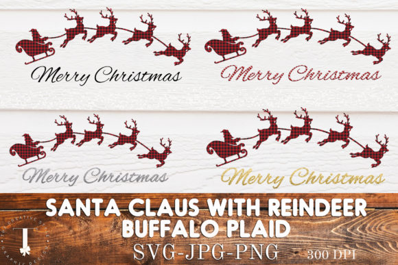 Print on Demand: Santa Claus, Reindeer, Buffalo Plaid Gráfico Ilustraciones Por thecreativestyle