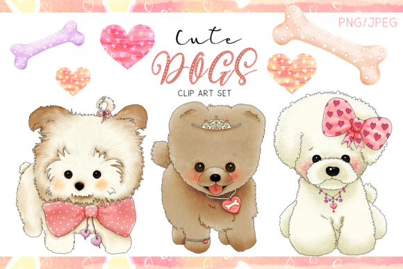 Cute Dogs | Designer Clip Art Set Graphic Illustrations By Jen Digital Art